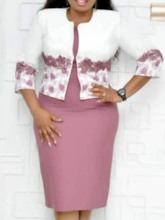 Print Coat Office Lady Floral Plus Size Women's Two Piece Sets