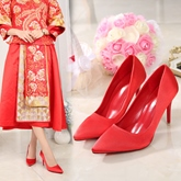 Female Stiletto Heel Ultra-High Heel Thin Shoes Embroidery Wedding Shoes