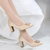 Female Chunky Heel High Heel Cloth Rhinestone Wedding Shoes