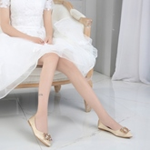 Female Low Heel Cloth Flat With Pointed Toe Wedding Shoes