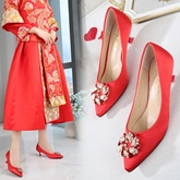 Female Thin Shoes Beads PU Mid-Heel Wedding Shoes
