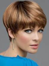 Brown Color Short Bob Straight Human Hair Lace Front Wig 10inch