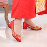Female Embroidery Cloth Block Heel Thin Bridal Shoes