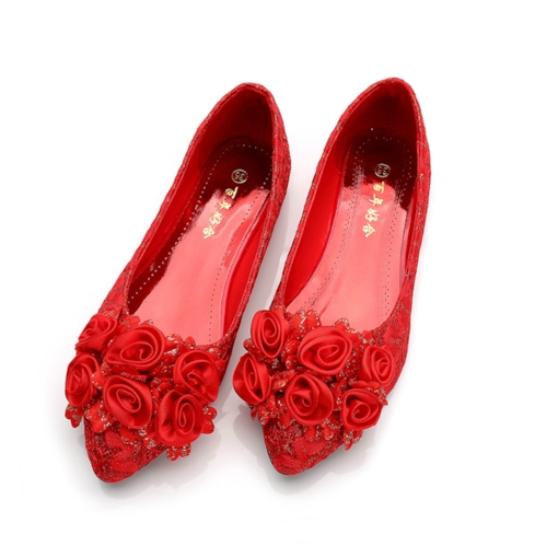 Female Flat With Lace Thin Shoes Cloth Wedding Shoes