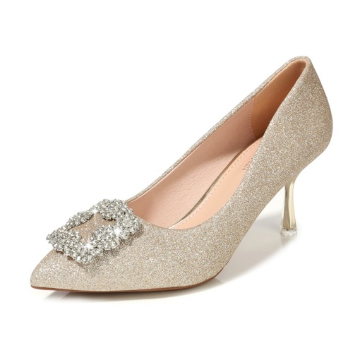 Female Stiletto Heel Pointed Toe Sequin Thin Shoes Wedding Shoes
