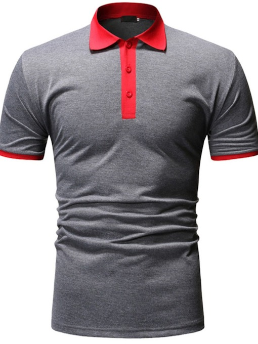 Black/Dark Gray Color Button Casual Polo Neck Color Block Men's Polo Shirt