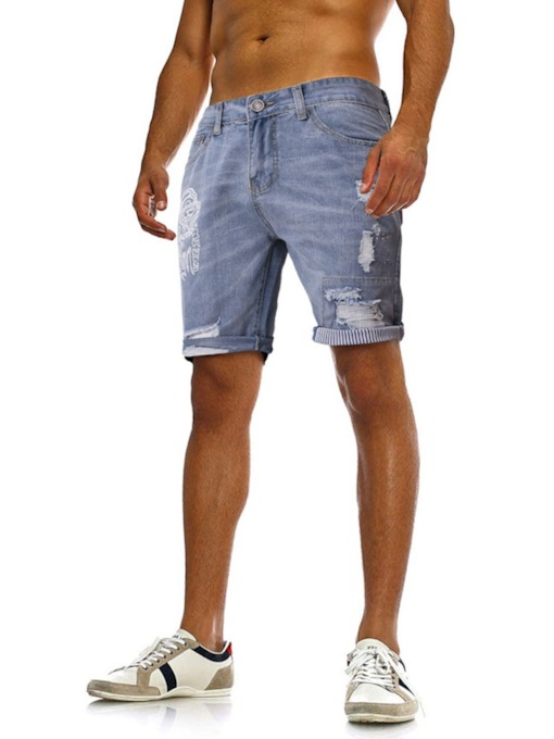 Fashion Pole Blue/Black Color Jeans Straight Button Color Block Casual Men's Shorts
