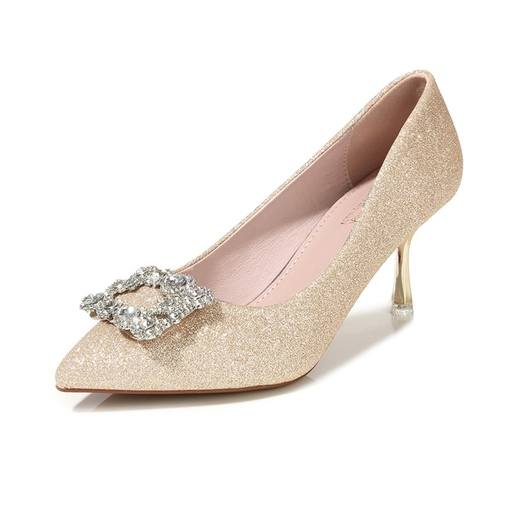 Female Sequin Pointed Toe Stiletto Heel High Heel Wedding Shoes