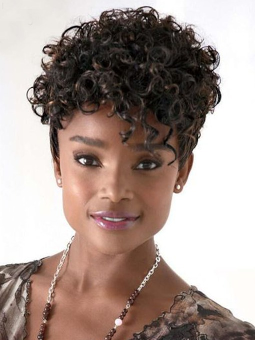 Summer Short Synthetic Hair Wigs Curly Lace Front Wigs 12inch