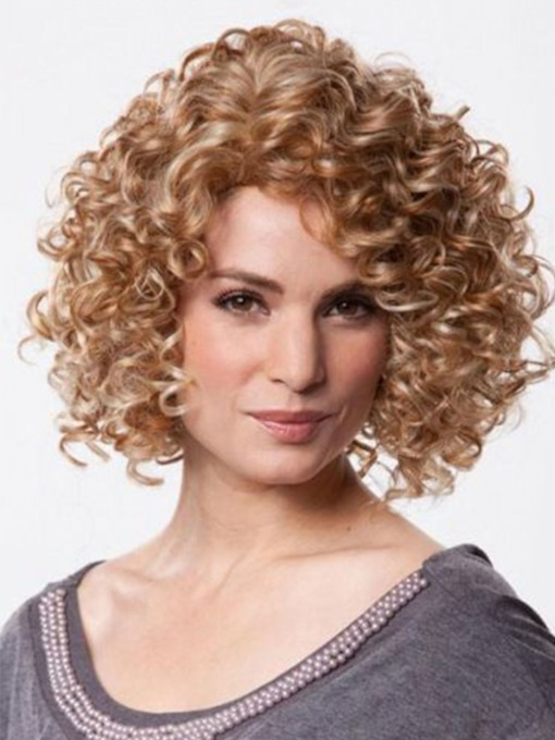 Sexy Women's Short Synthetic Hair Afro Curly Lace Front Wigs 18inch