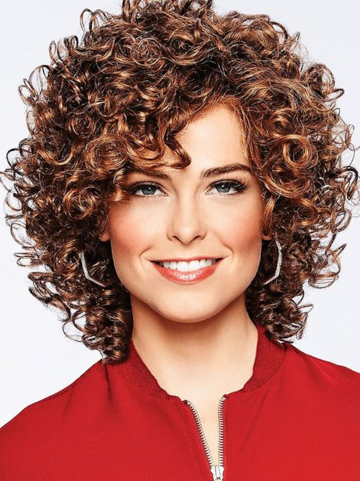 Short Length Dark Brown Lace Front Cap Afro Curly Synthetic Hair Wigs 18inch