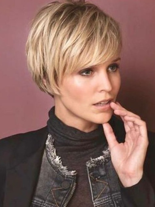 Women's Short Straight Synthetic Hair Wigs Lace Front Cap Wigs 12inch