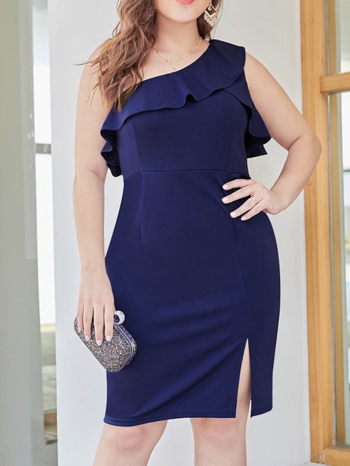 Plus Size Sleeveless Oblique Collar One-Shoulder Women's Bodycon Dress
