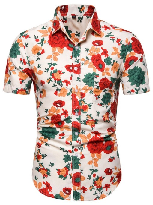 Eye-Catching Floral Button Lapel Slim Top Blouse Casual Hawaiian Holiday Vacation Men's Shirt