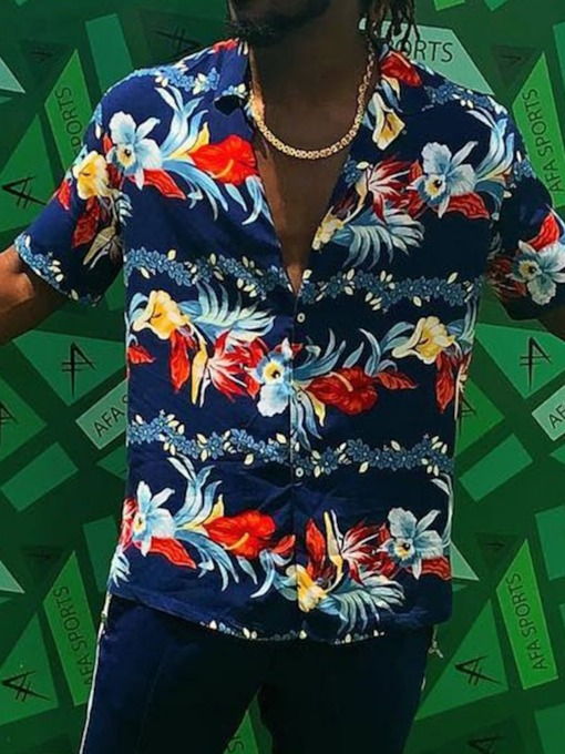 Fashion Hawaiian Floral Printed Lapel Button Color Block Loose Holiday Vacation Men's Shirt