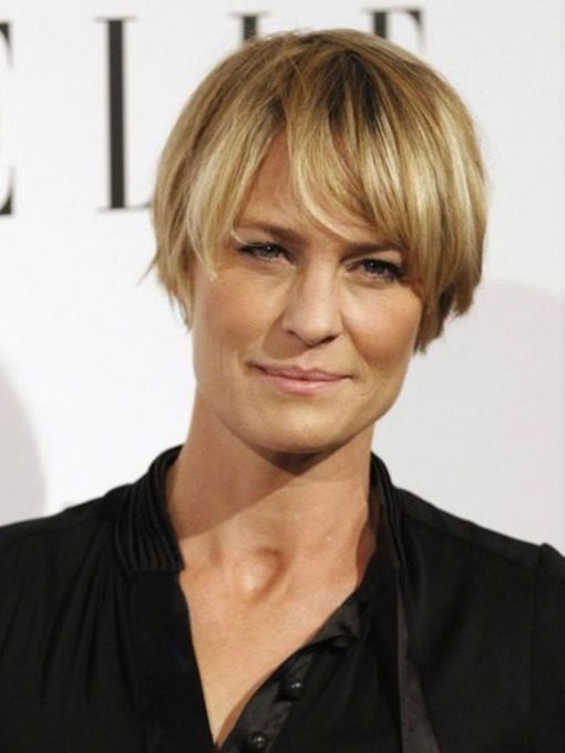 Robin Wright Short Straight Synthetic Hair Wigs Lace Front Cap Wigs 12inch