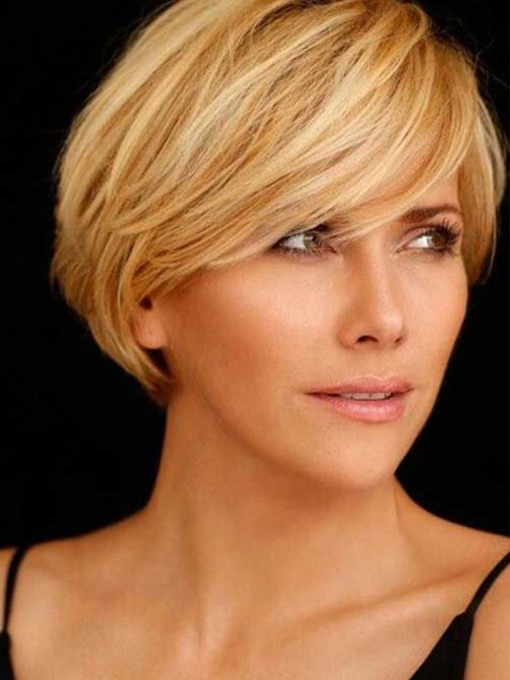 Short Bob Style Straight 100% Human Hair Lace Front Cap Wigs 12inch