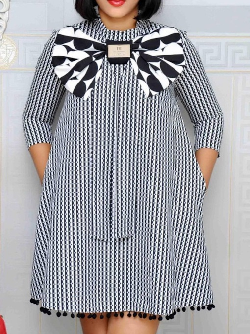 Stand Collar Three-Quarter Sleeve Bowknot Stripe Women's Day Dress