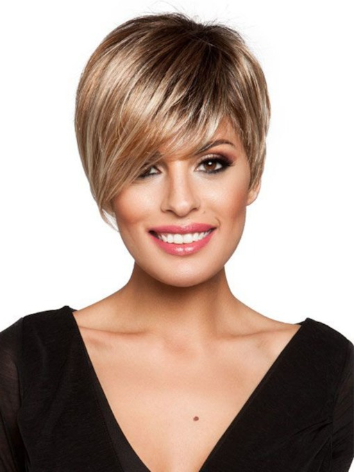 Women's 120% Denisty Lace Front Cap Wigs Straight Synthetic Hair Wigs 12 inch