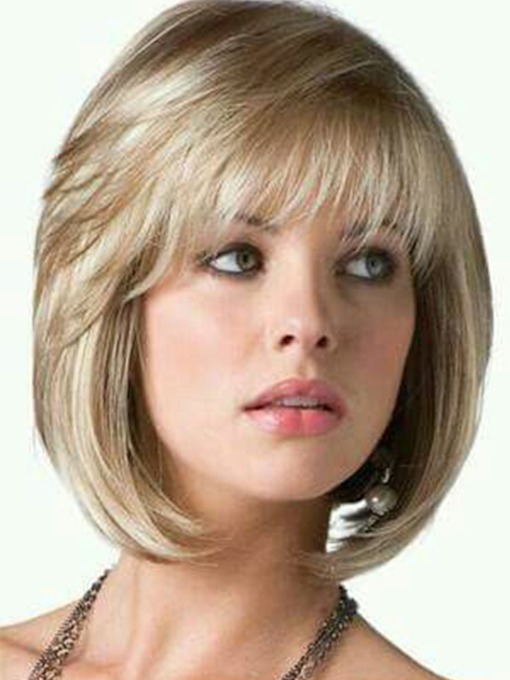 Short Bob Style Women's Straight Human Hair Wigs Full Capless Wigs 14inch