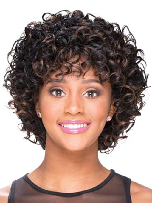 Women's Short Fluffy Afro Wigs Synthetic Hair Capless Wigs For Party 14inch