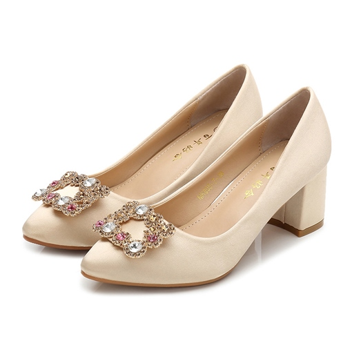 Female Cloth Pointed Toe Thin Shoes Rhinestone Wedding Shoes
