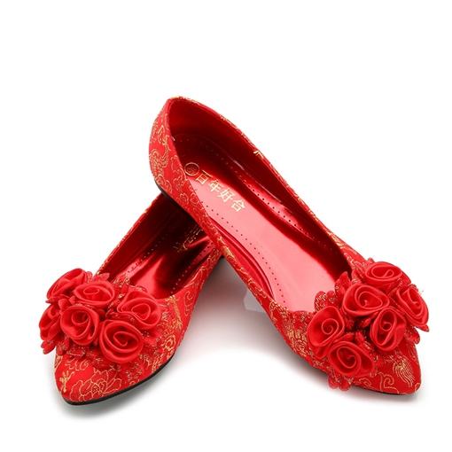 Female Pointed Toe Low Heel Cloth Thin Shoes Red Bridal Shoes