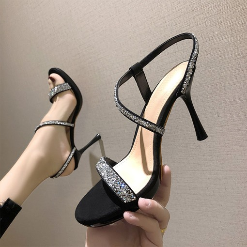 Open Toe Slip-On Stiletto Heel Low Heel Sandals