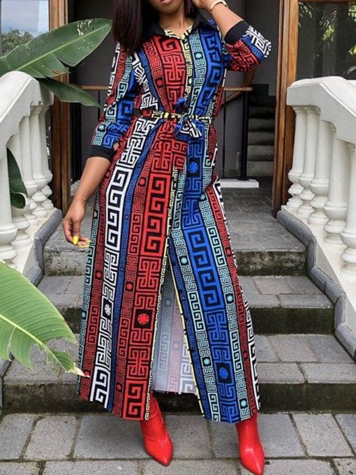 Print Three-Quarter Sleeve Lapel Ethnic Women's Maxi Dress