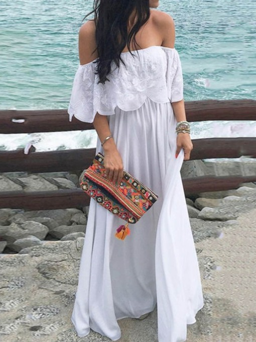 Three-Quarter Sleeve Embroidery Off Shoulder Women's Maxi Dress