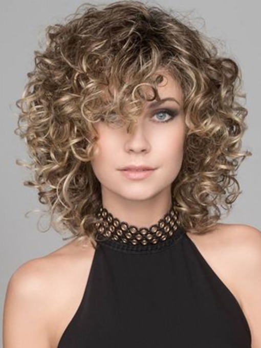 Sexy Women's Lace Front Cap Afro Curly Synthetic Hair Wigs 18inch