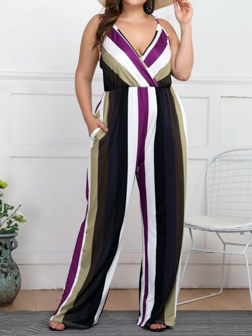Plus Size Color Block Office Lady Strap Full Length Loose Women's Jumpsuit
