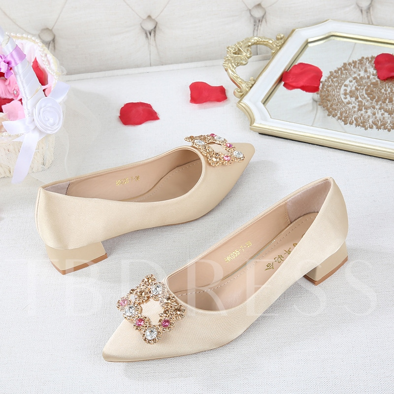 Female Low Heel Beads Chunky Heel Pointed Toe Wedding Shoes