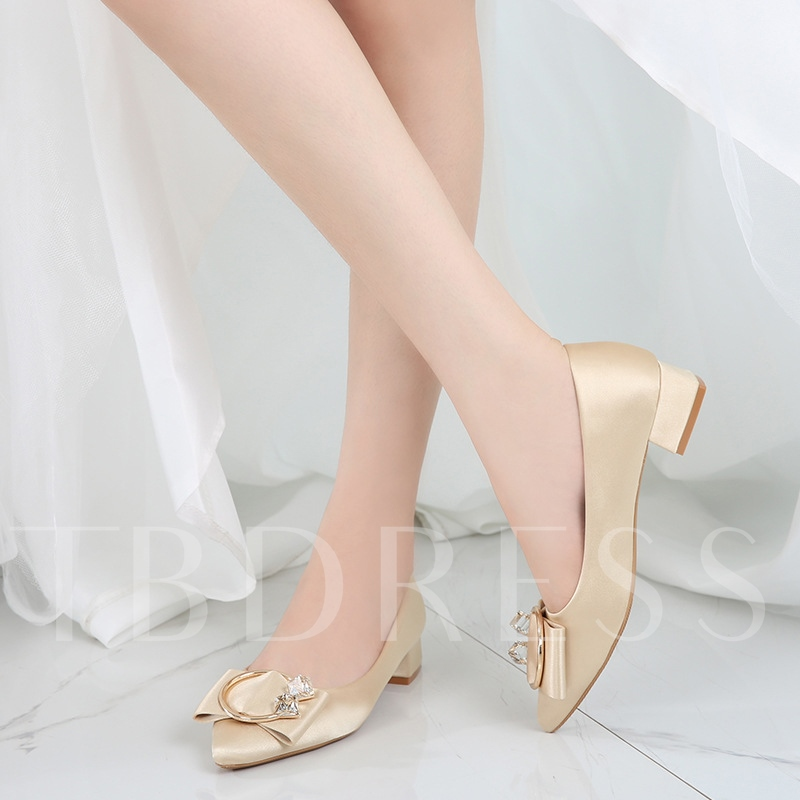 Female Low Heel Cloth Thin Shoes Chunky Heel Wedding Shoes