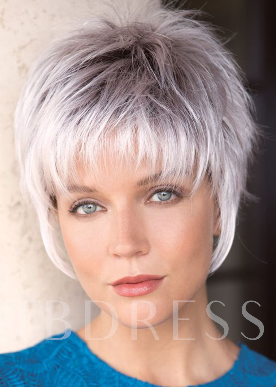 Women White Synthetic Hair Wigs With Bangs Lace Front Wigs 12INCH