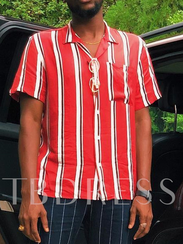 Fashion Classic Striped Stand Collar Tops Pocket Loose Single-Breasted Men's shirt