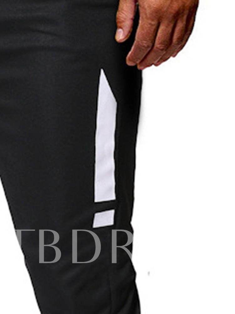 Fashion Casual Striped Thin Pants Color Block Lace-Up Pencil Pants Men's Casual Pants
