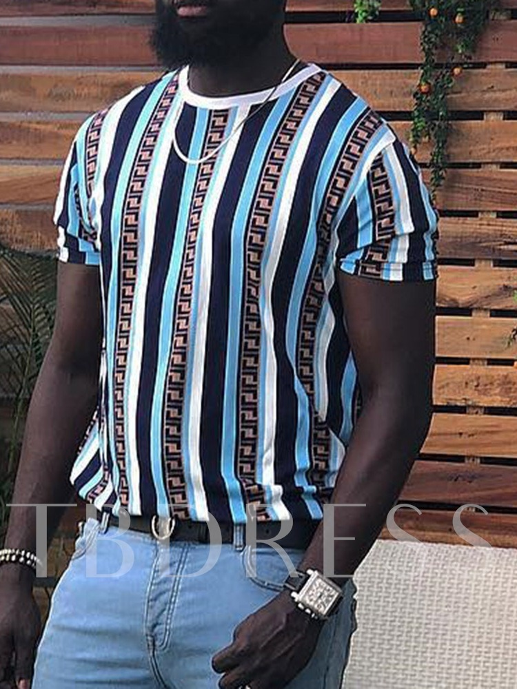 Fashion Classic Stripped Round Neck Color Block Prin tShort Sleeve Men's T-shirt