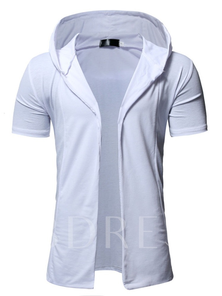 White/Black/Dark Gray Color Casual Hooded Tops Mid-Length Plain Solid Color Men's Trench Coat