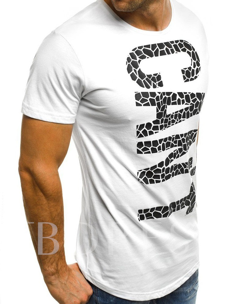 White/Black Fashion Letter Print Color Block Round Neck Casual Loose Men's T-shirt