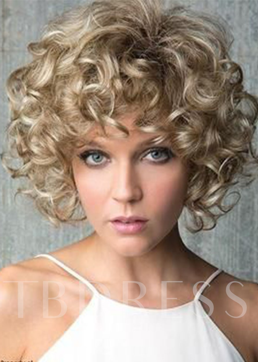 Light Brown Color Afro Curly Hair Lace Front Cap Synthetic Hair Wigs 16inch