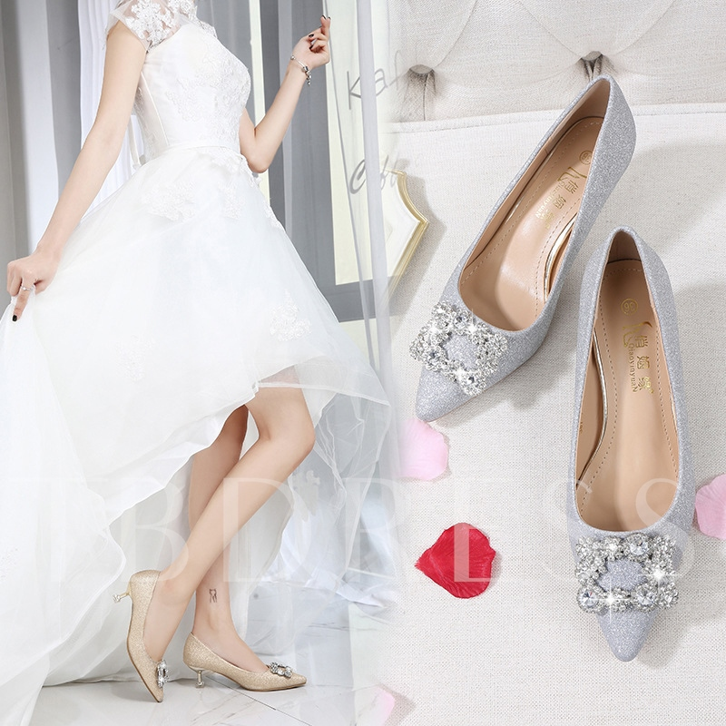 Female Rhinestone Pointed Toe Mid-Heel Thin Wedding Shoes