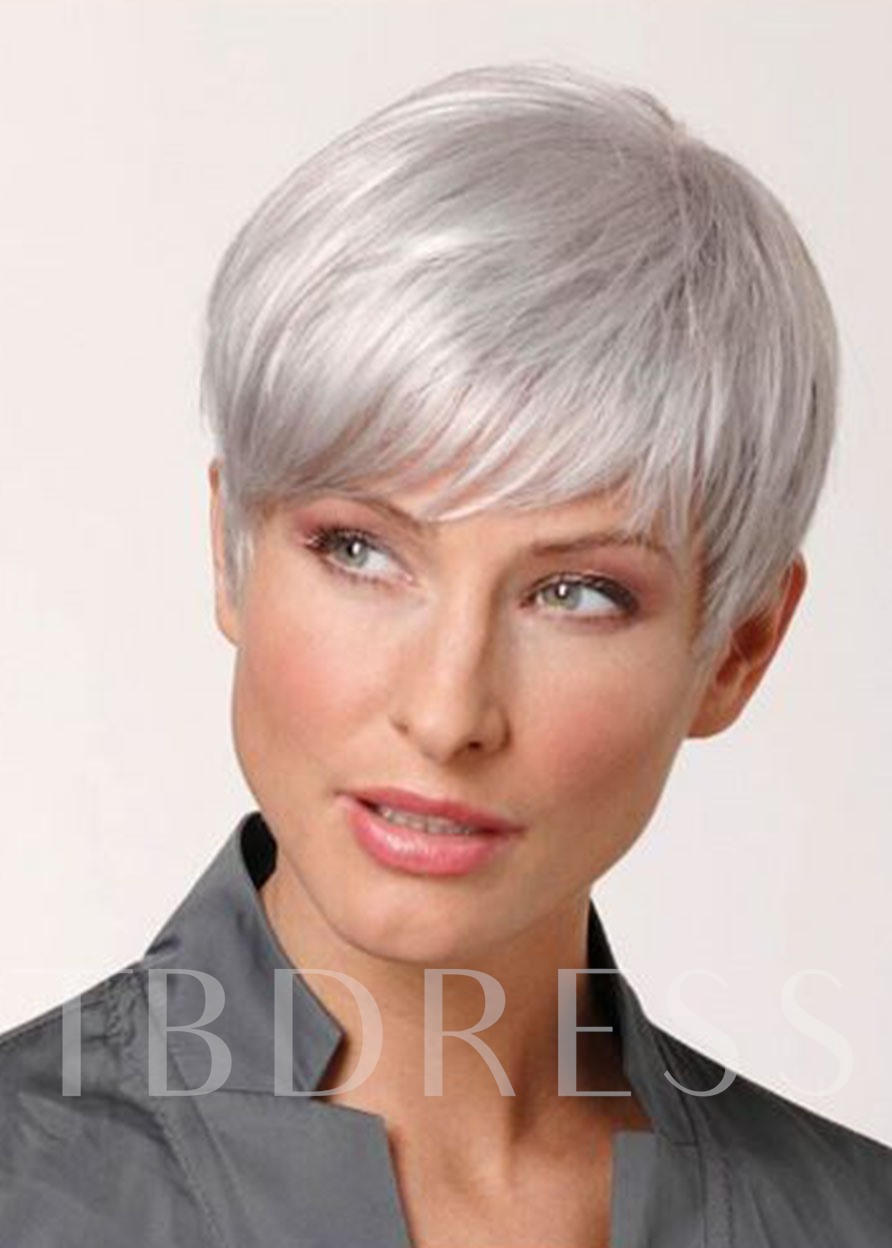 White Color Synthetic Hair Wigs Lace Front Natural Looking Straight Wigs 10inch