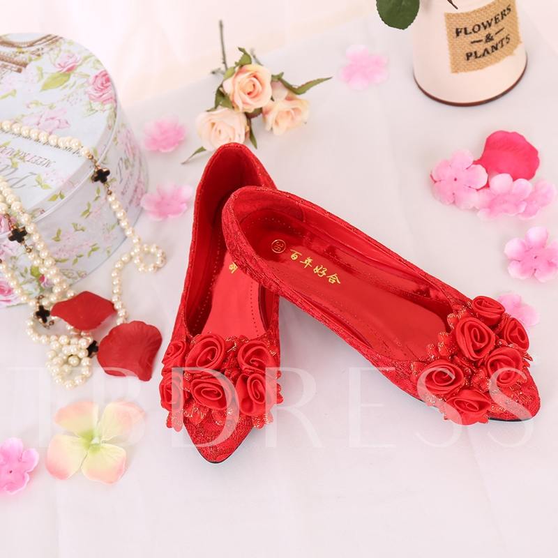 Female Flat With Lace Thin Shoes Red Wedding Shoes