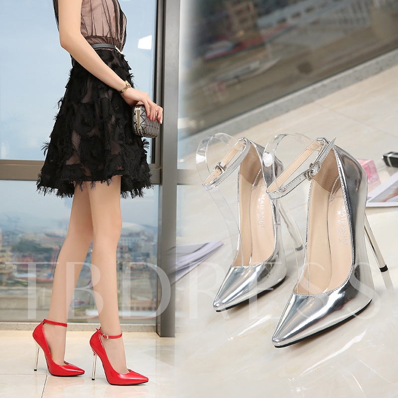 Female Ultra-High Heel Thin Shoes PU Pointed Toe Wedding Shoes