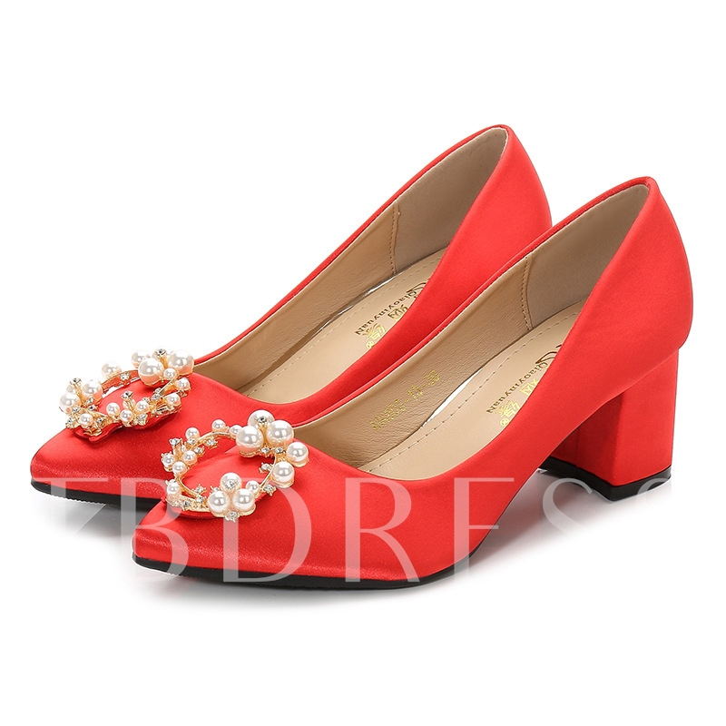 Female Cloth Thin Shoes Block Heel High Heel Bridal Shoes