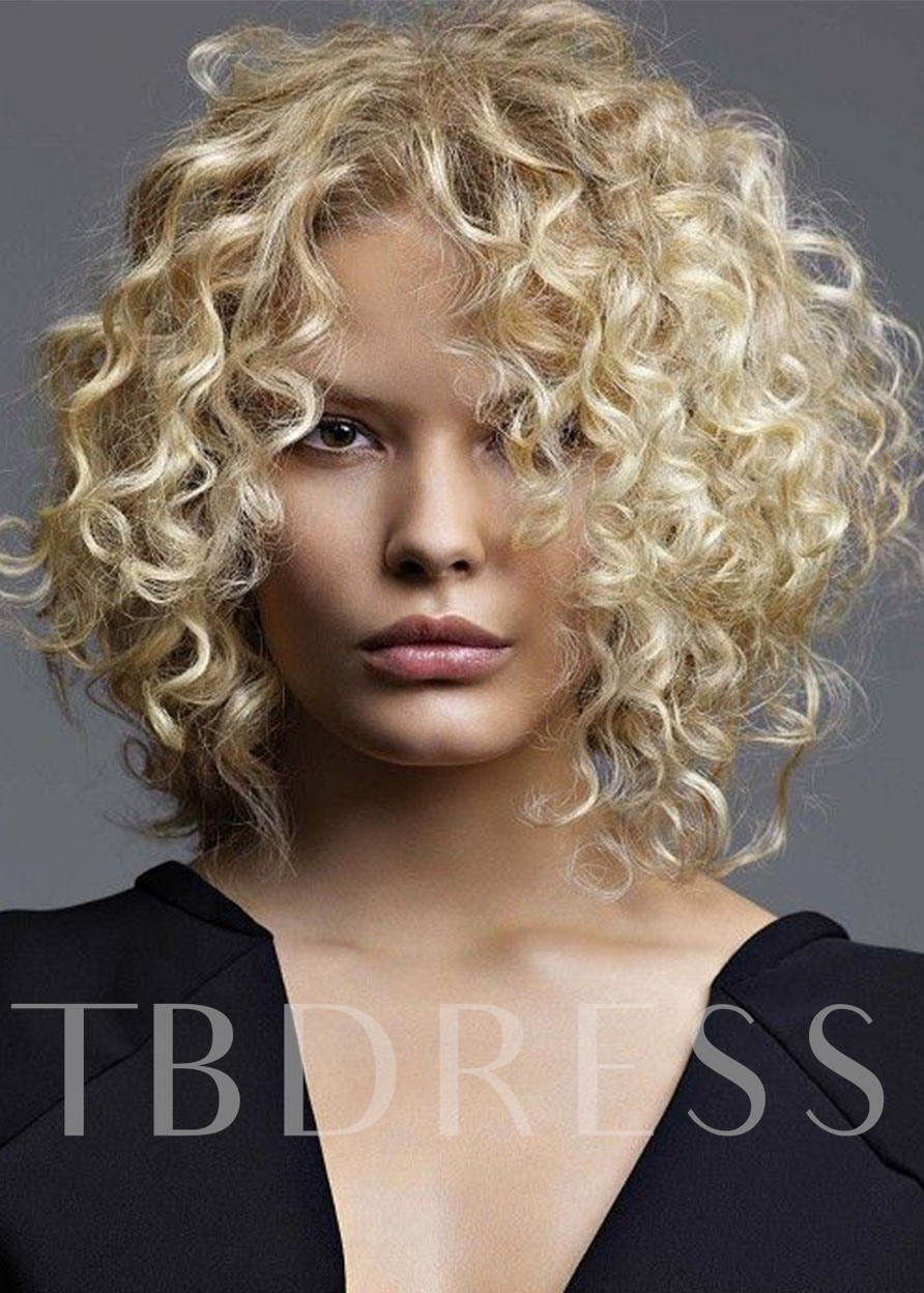 Mid Part Light Brown Lace Front Cap Afro Curly Synthetic Hair Wigs 16inch