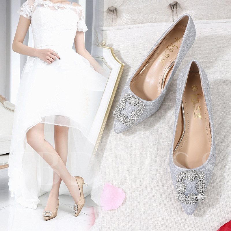 Female Pointed Toe PU Buckle Stiletto Heel Bridal Shoes