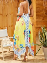 Sleeveless V-Neck Print Asymmetric Women's Maxi Dress