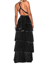 Backless V-Neck Print Sleeveless Layered Women's Maxi Dress
